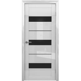 Прага GL Белый глянец чёрное/белое стекло
